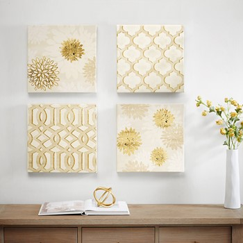 Gilded Grandeur Canvas Art with Gold Foil 4 Piece Set
