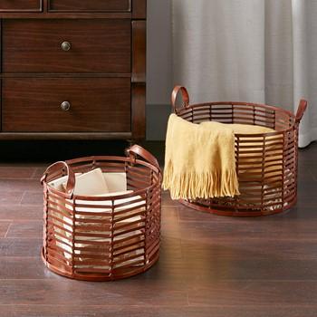 Newport Leather Stripe Basket