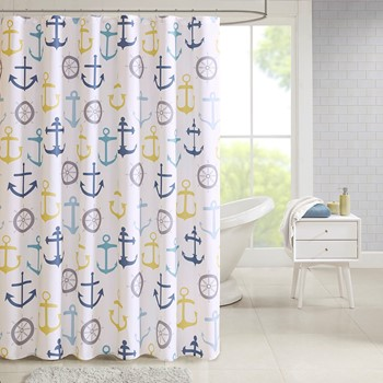 Hudson Poly Duck Canvas Nautical Printed Shower Curtain