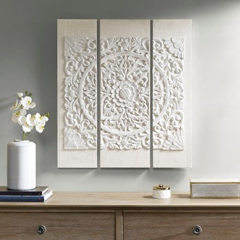 Wooden Mandala White 3D Embellished Canvas