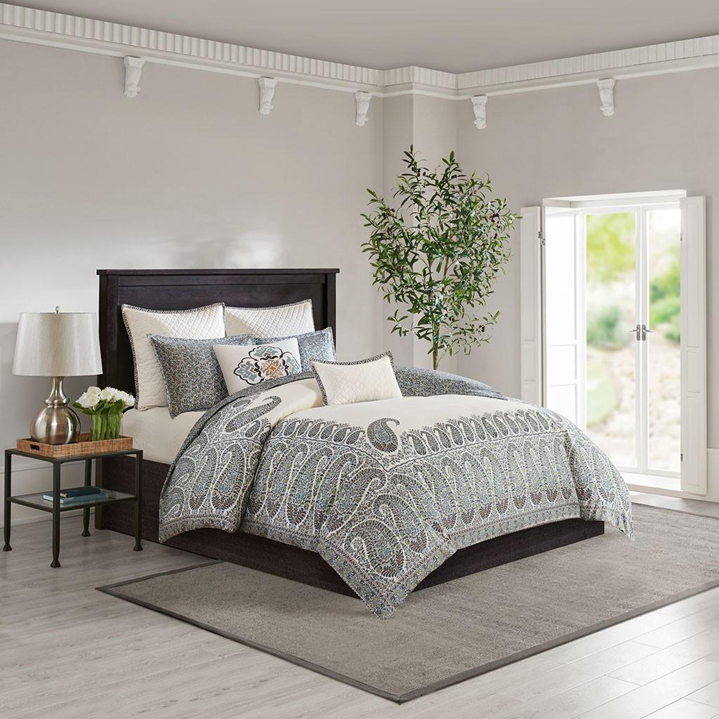 Details about new king size paisley shawl 3 piece cotton comforter set multi color echo design