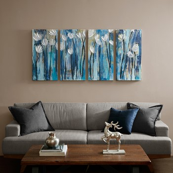Ocean Breeze Blossom 4 Piece Set Gel Coat Printed on Canvas
