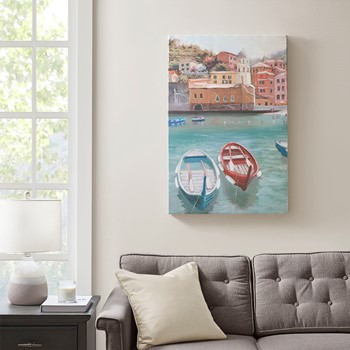 Sunny Italian Riviera Coastal Scenic Canvas with Gel Coat