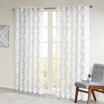 Harley Embroidered Faux Linen Sheer Panel