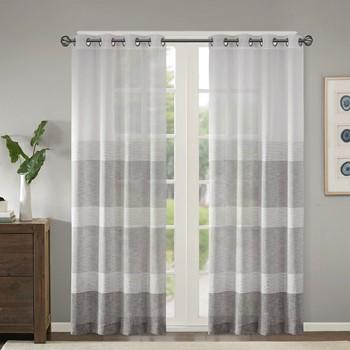 Hayden Woven Faux Linen Striped Window Sheer