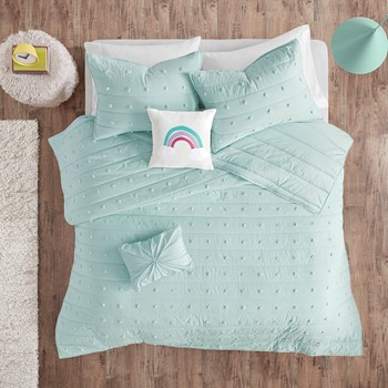 Callie Cotton Jacquard Pom Pom Coverlet Set
