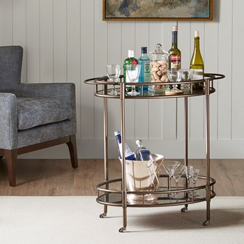 Claiborne Bar Cart with Functional Wheels