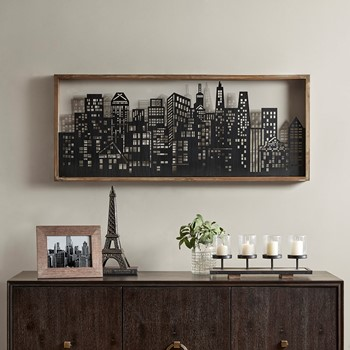Skyline Metal Wall Art Decor With Wooden Frame