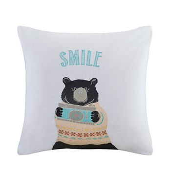 Photographer Ben Bear Embroidered Cotton Square Pillow