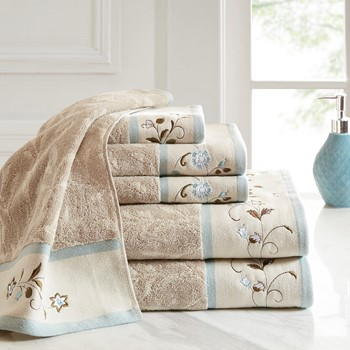 Serene Embroidered Cotton Jacquard 6 Piece Towel Set