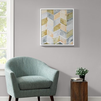 Watercolor Chevron Gel Coat With White Wood Frame