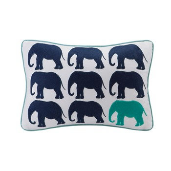 Lucky One Elephant Appliqued Cotton Oblong Pillow