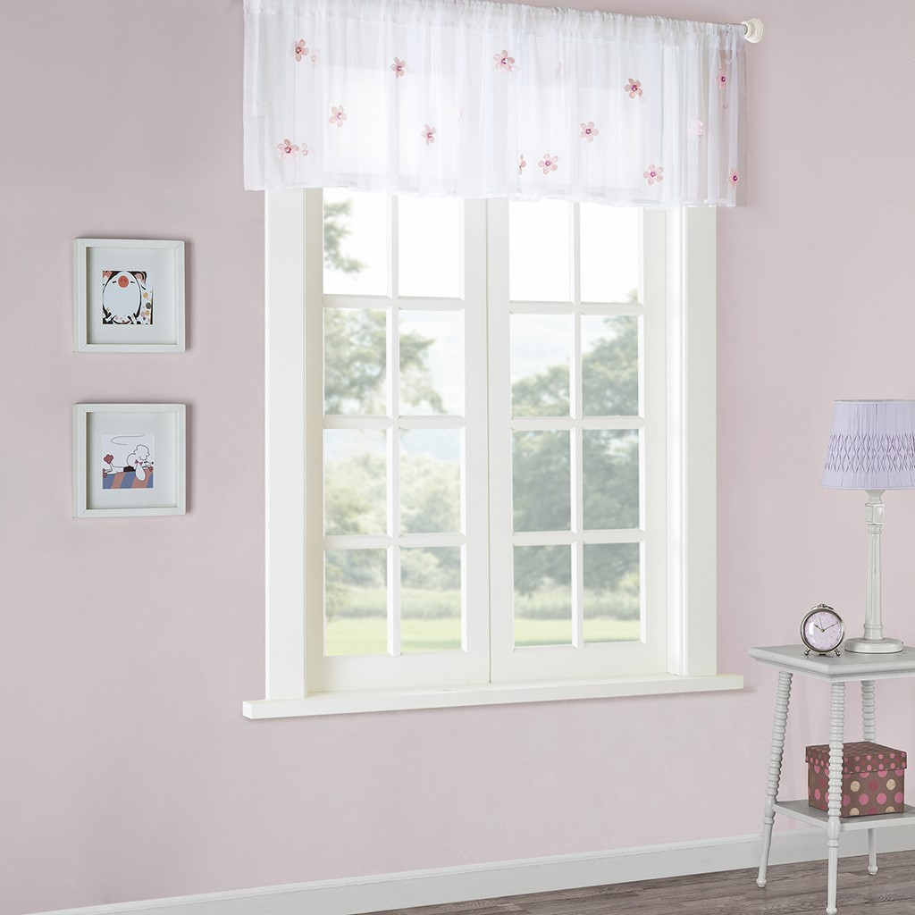 White//Pink Rod Pocket Details about  /Mi Zone Lily Floral Appliqué Sheer Valance 52in X 18in