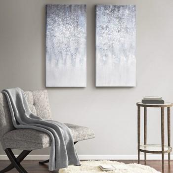 Winter Glaze Heavy Textured Canvas with Glitter Embellishment 2 Piece Set