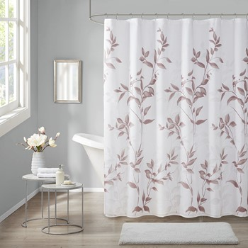 Cecily Burnout Printed Shower Curtain