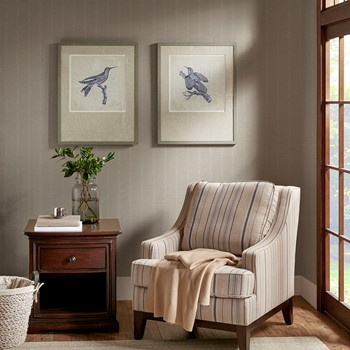 Embroidered Birds Framed On Printed Background with Natural Tone Solid Wood Frame 2PC Set