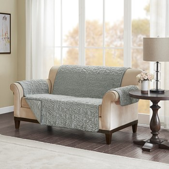 Bismarck Embroidered Faux Fur Loveseat Protector