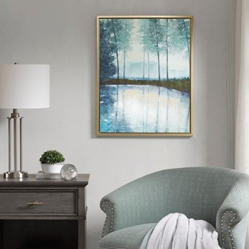 Serene Setting Hand Embellished Canvas with Silver Frame