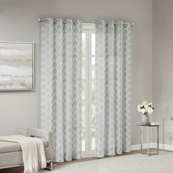 Nadal Leaf Embroidered Grommet Sheer Window Curtain