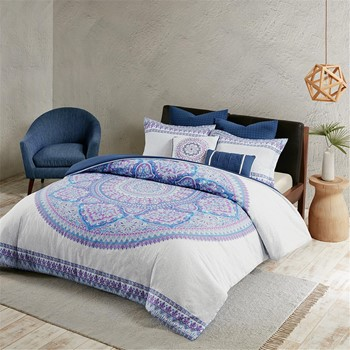 Coletta 7 Piece Cotton Percale Duvet Cover Set