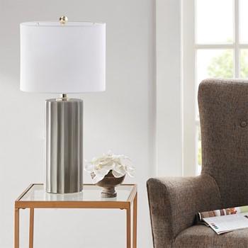 """Glendale Ceramic Ribbed Table Lamp 27"""""""