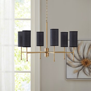 Maria Gold 6-Light Chandelier with Multi Shade Options