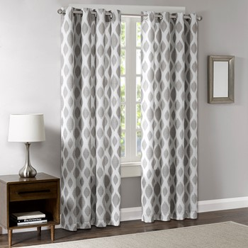 Stella Metallic Ogee Sheer Panel with Blackout Lining