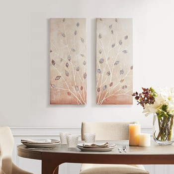 Midday Glow Hand Embellished Canvas Art 2 Piece Set