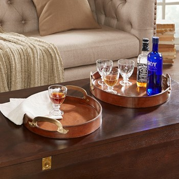 Camryn Leather Round Tray with Metal Handle