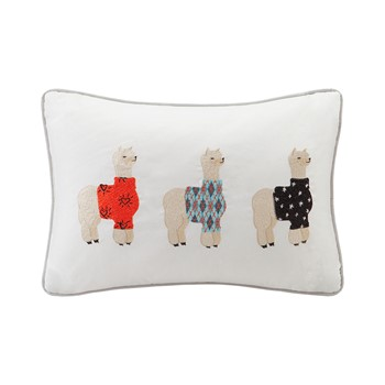 Sweater Weather Alpaca Embroidered Cotton Oblong Pillow