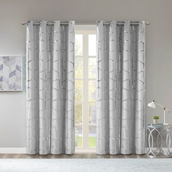Raina Total Blackout Metallic Print Grommet Top Curtain Panel