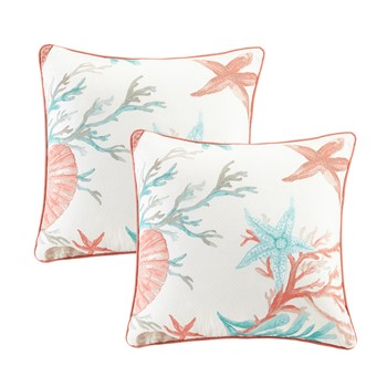 Pebble Beach Cotton Printed Square Pillow Pair with Solid Reverse