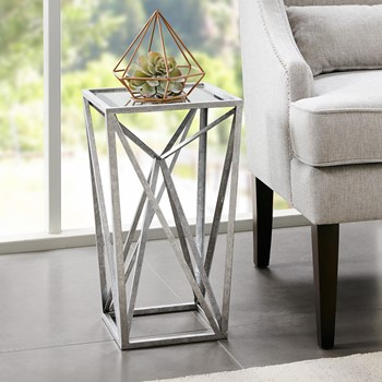 Zee Silver Angular Mirror Accent Table