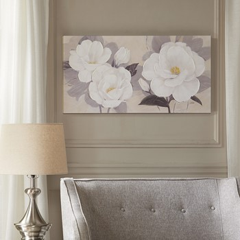 Midday Bloom Florals Paint Embellished Canvas