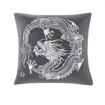 Sterling Dragon Embroidered Cotton Sateen Euro Sham