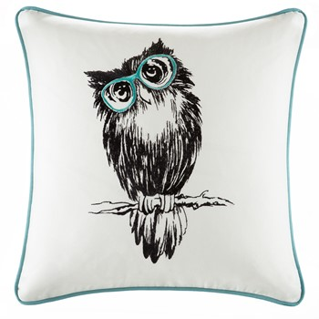 Owlfred Owl Embroidered Cotton Square Pillow