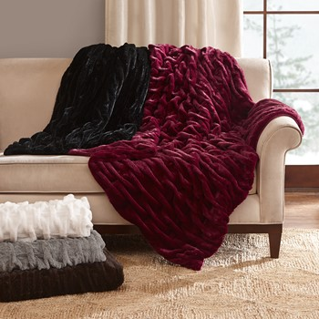 Oversized Ruched Fur Throw