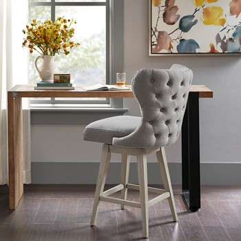 "Hancock High Wingback Button Tufted Upholstered 27"" Swivel Counter Bar Stool with Nailhead Accent"