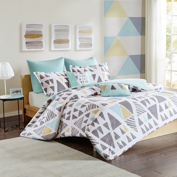 Troy 7 Piece Cotton Duvet Cover Set