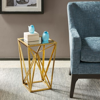 Zee Gold Angular Mirror Accent Table