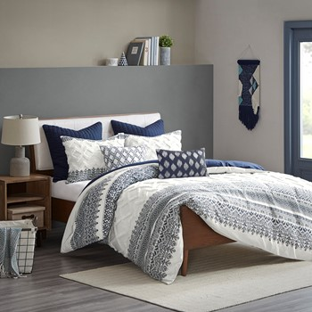 Mila Cotton Printed Duvet Cover Set with Chenille