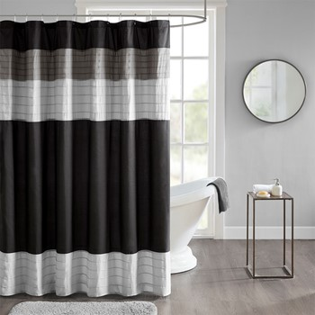 Terence Pieced and Pintucked Shower Curtain with Liner