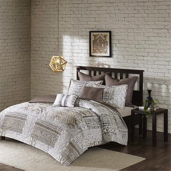 Lyra 7 Piece Cotton Seersuck Duvet Cover Set