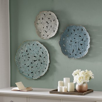 Rossi Blue Iron Painted Wall Decor Set of 3