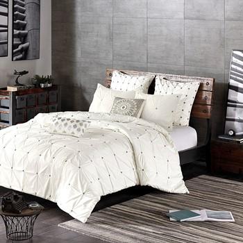 3 Piece Elastic Embroidered Cotton Duvet Cover Set