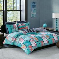 Mix & Match Cotton Reversible Print Comforter Set (Full/Queen,Multi)