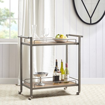 Jemma Pine Veneer Silver Metal Bar Cart