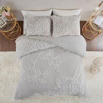Veronica 3 Piece Tufted Cotton Chenille Floral Duvet Cover Set