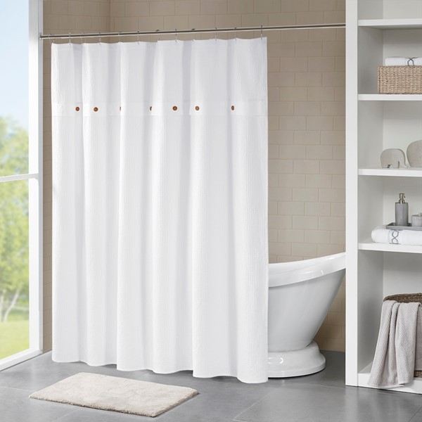 Finley 100 Cotton Waffle Weave Textured Shower Curtain By Madison Park
