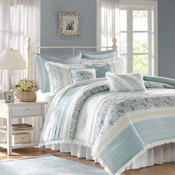 Dawn 9 Piece Cotton Percale Duvet Cover Set